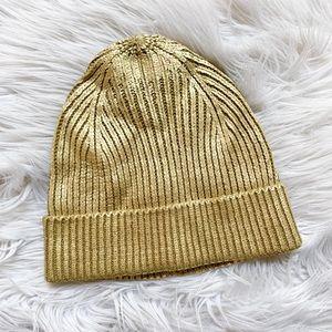 NWOT Zara Gold Metallic Coated Painted Knit Beanie